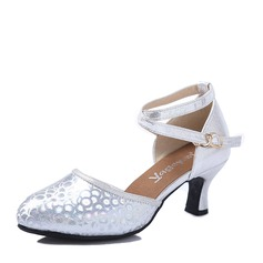 Women's Ballroom Heels Leatherette Sparkling Glitter With Hollow-out Lace-up Ballroom