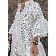 Solid 3/4 Sleeves/Flare Sleeves Shift Asymmetrical Little Black/Casual/Vacation Dresses