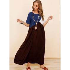 Color Block Short Sleeves Shift Casual/Vacation Maxi Dresses