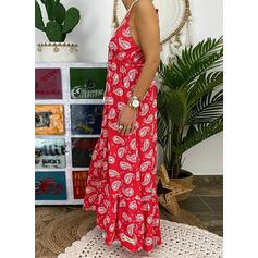 Print Sleeveless A-line Sexy/Casual/Boho/Vacation Maxi Dresses