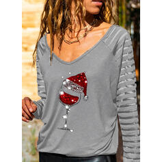 Sequins V-Neck Long Sleeves Casual Christmas Blouses