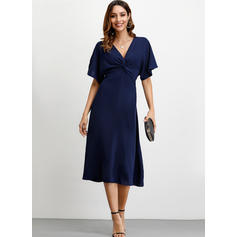 Solid 1/2 Sleeves A-line Midi Party Dresses