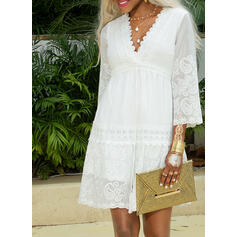 Lace/Solid 3/4 Sleeves Shift Above Knee Elegant Dresses