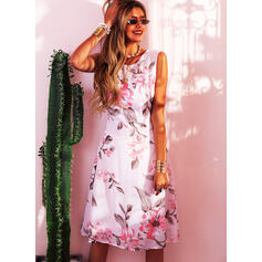 Impresión/Floral Sin mangas Acampanado Hasta la Rodilla Vintage/Fiesta/Elegante Patinador Vestidos