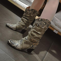 Women's Leatherette Chunky Heel Mid-Calf Boots With Buckle Animal Print Split Joint shoes