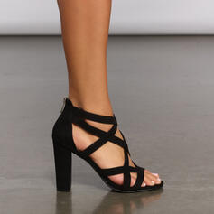 Women's Leatherette Chunky Heel Sandals Pumps With Zipper Hollow-out Solid Color shoes
