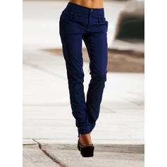 Solid Patchwork Shirred Plus Size Long Elegant Skinny Plain Pants