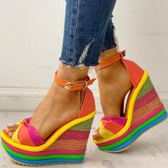 Women's Canvas Wedge Heel Sandals Peep Toe With Buckle Splice Color shoes