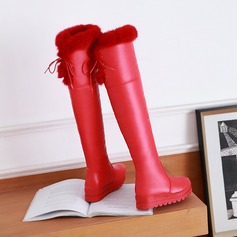 Leatherette Low Heel Platform Over The Knee Boots With Bowknot Faux-Fur shoes