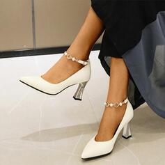 Femmes PU Talon bottier Escarpins avec Strass Brodé Boucle chaussures