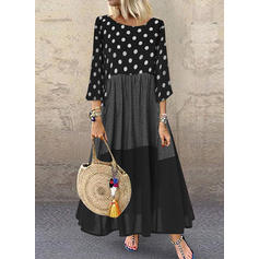 PolkaDot/Plaid/Patchwork 3/4 Sleeves Shift Maxi Casual Dresses