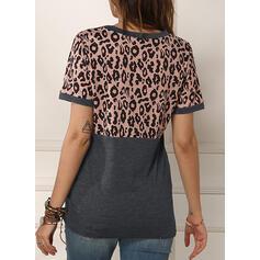 Dierenprint Ronde Hals Korte Mouwen Casual T-shirts