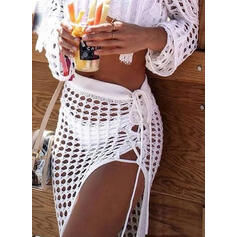 Solid Color Crochet Mesh Strapless Sexy Cover-ups Swimsuits
