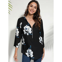 Print Floral V-Neck Long Sleeves Casual Elegant Blouses