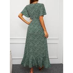 Print Short Sleeves/Split Sleeve A-line Asymmetrical Casual/Vacation Wrap/Skater Dresses