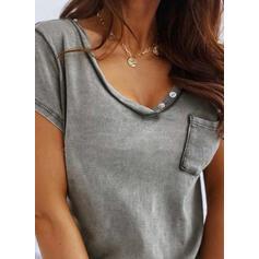 Animal Print V-Neck Short Sleeves T-shirts