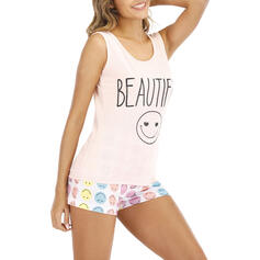 Round Neck Sleeveless Print Casual Top & Short Sets