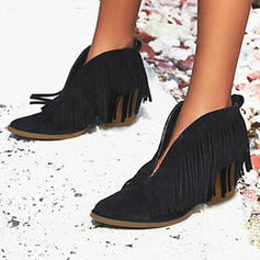 PU Chunky Heel Boots With Tassel shoes