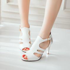 Women's Leatherette Stiletto Heel Sandals Pumps Peep Toe With Buckle shoes