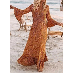 Print Long Sleeves/Flare Sleeves A-line Casual/Boho/Vacation Maxi Dresses