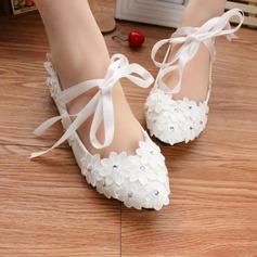 Frauen Lackleder Flascher Absatz Geschlossene Zehe Flache Schuhe mit Zuschnüren Applikationen