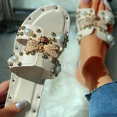 Mulheres PU Sem salto Sandálias Chinelos Chinelos com Strass Rivet sapatos