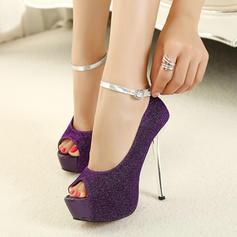 Frauen PU Stöckel Absatz Absatzschuhe Plateauschuh mit Kette Schuhe