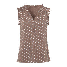 PolkaDot V-Neck Sleeveless Button Up Casual Tank Tops