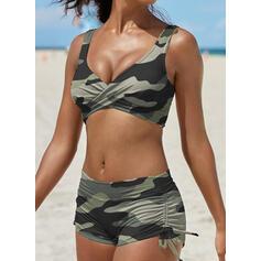Raya Correa Cuello en V Clásico Talla extra Bikinis Trajes de baño
