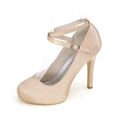 Women's Satin Stiletto Heel Closed Toe Platform Pumps With Buckle