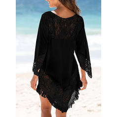 Solid Color Round Neck Sexy Cute Cover-ups Swimsuits