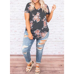Print Floral V-Neck Short Sleeves Casual Plus Size T-Shirts