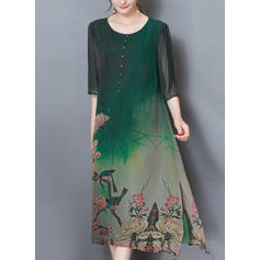 Floral/Animal Print 1/2 Sleeves Shift Knee Length Casual/Elegant Dresses