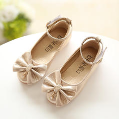 Girl's Leatherette Flat Heel Closed Toe Flats Flower Girl Shoes With Bowknot Rhinestone
