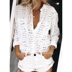 Print Lapel Long Sleeves Casual Shirt Blouses