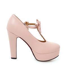 Donna PU Tacco spesso Stiletto Piattaforma Punta chiusa con Bowknot scarpe