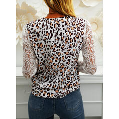 Lace Leopard V-Neck Puff Sleeves Long Sleeves Casual Blouses