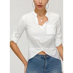 Solid V-Neck Long Sleeves Casual Elegant Shirt Blouses