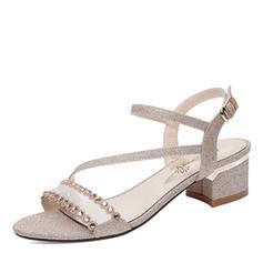 Women's Sparkling Glitter Chunky Heel Peep Toe Sandals Slingbacks