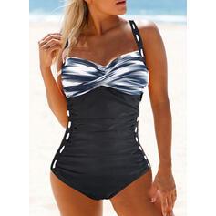 Print Splice color Strap V-Neck Sexy Boho One-piece Swimsuits
