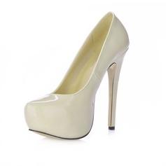 Women's Patent Leather Stiletto Heel Pumps Platform Closed Toe shoes
