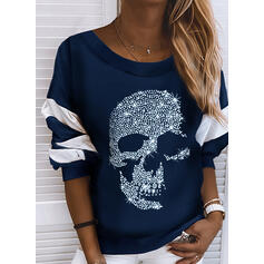 Color Block pailletter rund hals Lange ærmer Sweatshirts