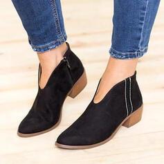 Donna Camoscio Tacco spesso Stivali alla caviglia Punta a punta con Altrui scarpe