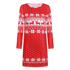 Print/Animal Print Long Sleeves Shift Above Knee Christmas/Casual Tunic Dresses
