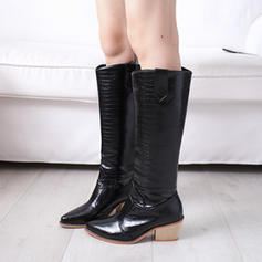 Women's PU Chunky Heel Knee High Boots With Split Joint shoes