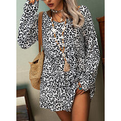 Leopard Round Neck Long Sleeves Casual Blouses