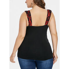 Print Square Collar Sleeveless Sexy Plus Size Tank Tops