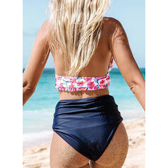 Floral High Waist Halter Elegant Cute Bikinis Swimsuits