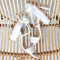 De mujer PU Tacón ancho Sandalias Salón Encaje con Cordones zapatos