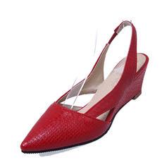 Femmes PU Talon compensé Escarpins Bout fermé Compensée Escarpins chaussures